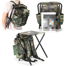 1 Pc Folding Camping Fishing Chair Stool Backpack Picnic Bag Hiking Camouflage Seat Table
