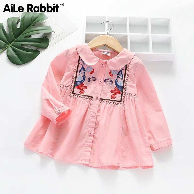 Children's   Shirt   2019 Spring And Autumn New Girls National Wind   Shirt   Baby Lapel Hollow Long Sleeve Embroidery   Shirt     Blouses