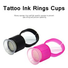 100Pcs Disposable Tattoo Ink Rings Cups Permanent Makeup Pigment Holder Eyebrow Eyelash Extension Glue Divider Container