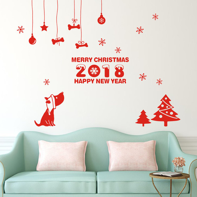 New Year 2018 Merry Christmas Wall Sticker Home Shop Windows Decals Decor  For Home And Windows