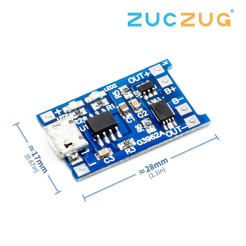 1PCS 5V TENSTAR ROBOT 1A Micro USB 18650 Lithium Battery Charging Board Charger Module+Protection Dual Functions TP4056