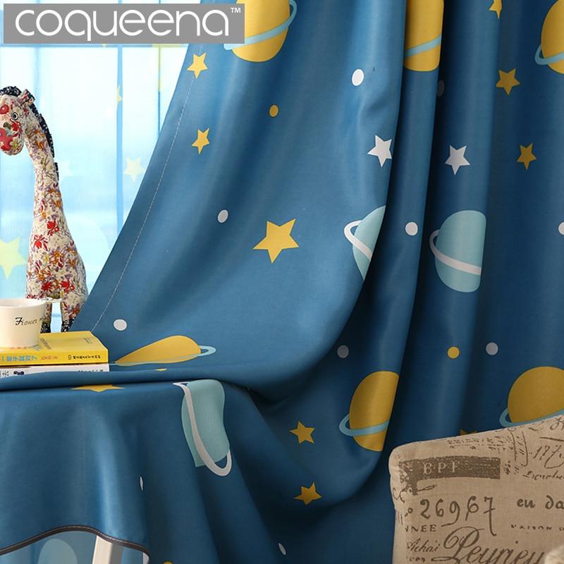 პლანეტებისა და ვარსკვლავების ნიმუშების ფარდები ბავშვებისთვის საბავშვო ოთახი ფარდები Cortinas Door Blackout ფარდები Drapes Window მკურნალობა