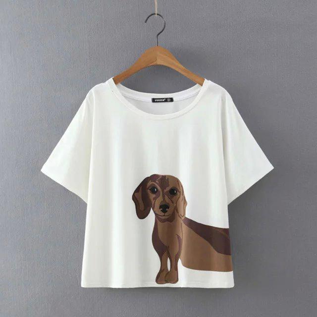 Tamanho Mais solto Verão Tops Tees Mulheres T-shirt Curto manga Cópia Do Cão Dos Desenhos Animados T Camisa Roupas Femininas de Algodão Branco tShirt