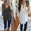 Sheer V Neck Top Button High Low Shirt Blouse Loose Sheer Chiffon Casual Summer Casual Shirt Women Elegant Office Wear Tops