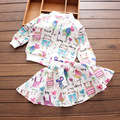 Retail 2016 Spring and autumn next Cartoons graffiti Long sleeve Brand Girls Clothing Sport Suits Toddler Jacket + Skirt outfits