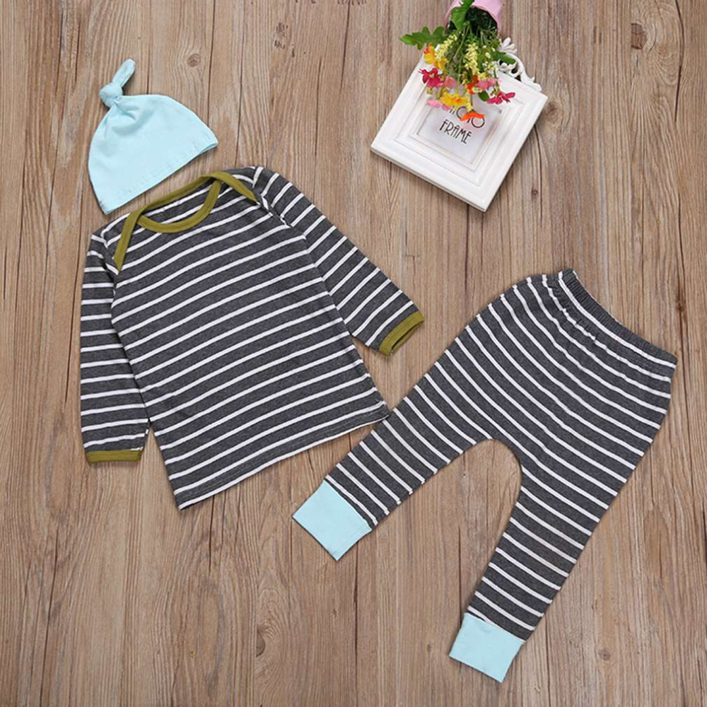 Hot! 3pcs/set Autumn Winter Cotton Clothing Set Comfortable Long Sleeve Deer Printed Shirts + Long Pants + Lovely Hat New Sale