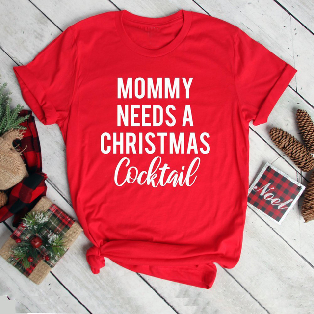 d3299be2 Mommy Needs A Christmas Cocktail Gangster Wrapper t-shirt holiday party gift  mother funny slogan fashion aesthetic shirt tee top