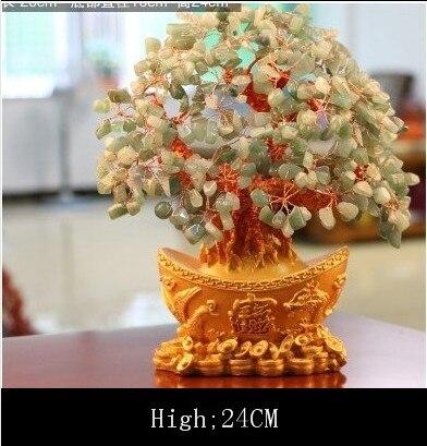 natural Aventurine quartz crystal gem money tree in for wealth money bay