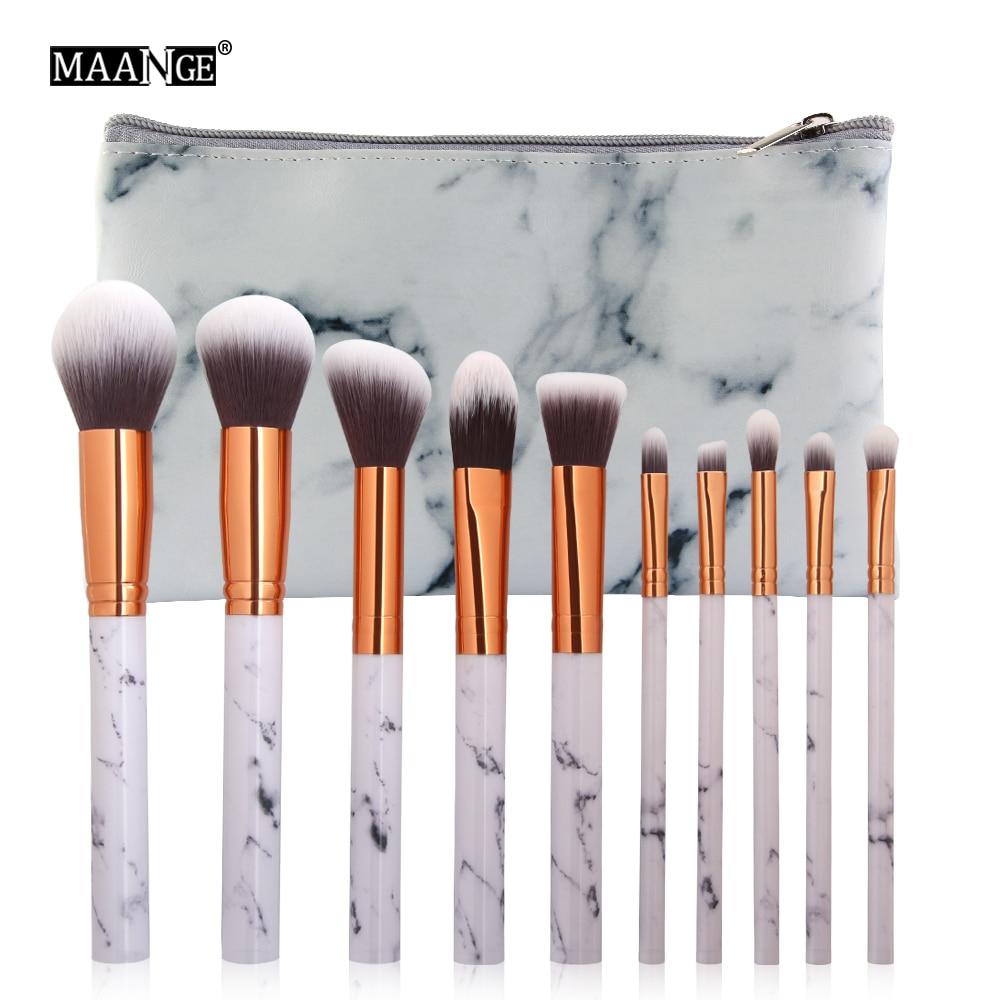 10 Pcs Set Profesional Makeup Brushes Marmer Handle Comestic Brush Travelling  5pcs Soft Nylon Hair 10pcs Patten Make Borstel Voor Cosmetische Poeder Foundation Oogschaduw Lip Up Kwasten Of
