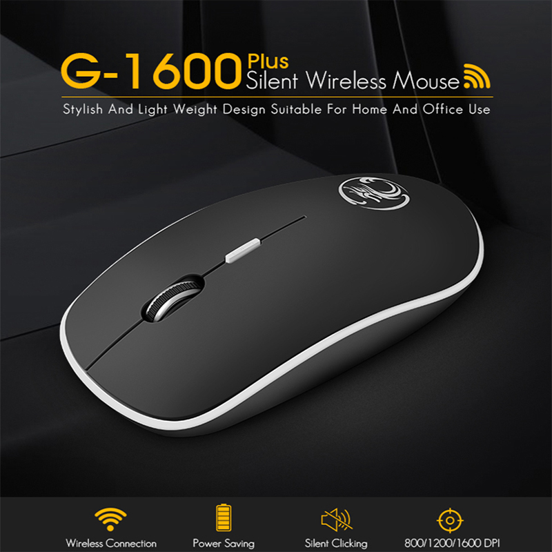 IMice Mouses sem fio 2.4G Mouse Ergonômico Mouse Sem Fio Ultra silencioso Silencioso Botão Com USB mini Receptor portátil rato Para PC laptop
