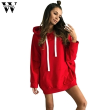 Womail Fashion Hooded Sweater Long Sleeve Dress 2018 Women Hoodie Sweater Dress Autumn Mini Dresses Vestidos Mujer Dec4