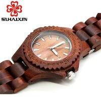 Promo Relojes de cuarzo de mujer de madera reloj de pulsera de diseñador de lujo de marca para mujer pulsera con reloj con retroiluminación caja de regalo SIHAIXIN 2018