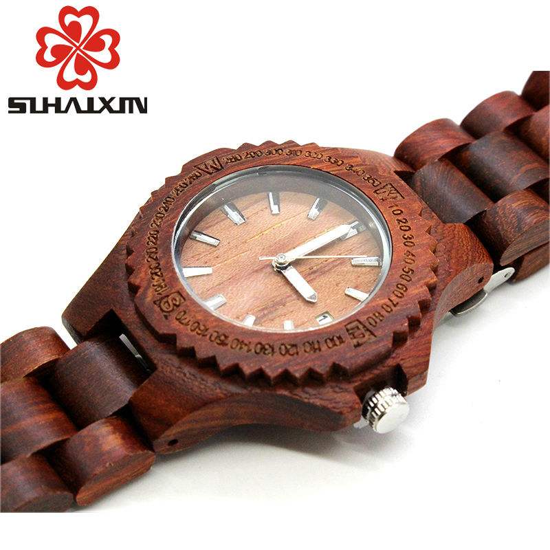 Wooden Watches Woman Quartz Wristwatch Branded Luxury Designer Ladies Bracelet With Backlight Watch Clock Gift Box SIHAIXIN 2018 sihaixin clock man wood watch luxury brand quartz wristwatch with wooden band watches creative gift for men women reloj de mader