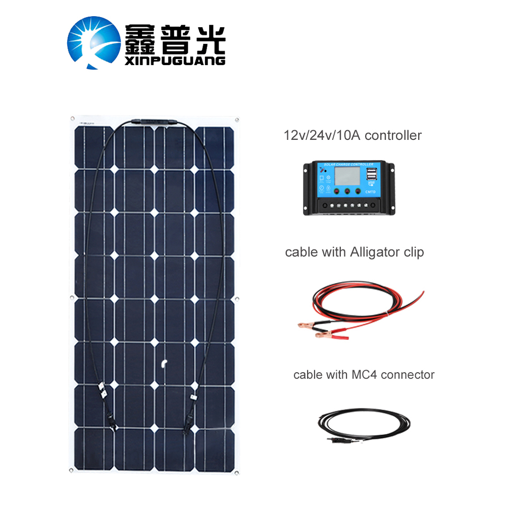 XINPUGUANG 100w <font><b>solar</b></font> system flexible <font><b>solar</b></font> <font><b>panel</b></font> <font><b>100</b></font> <font><b>watt</b></font> 1 set <font><b>solar</b></font> controller and <font><b>solar</b></font> cable DIY kit for 12v battery image