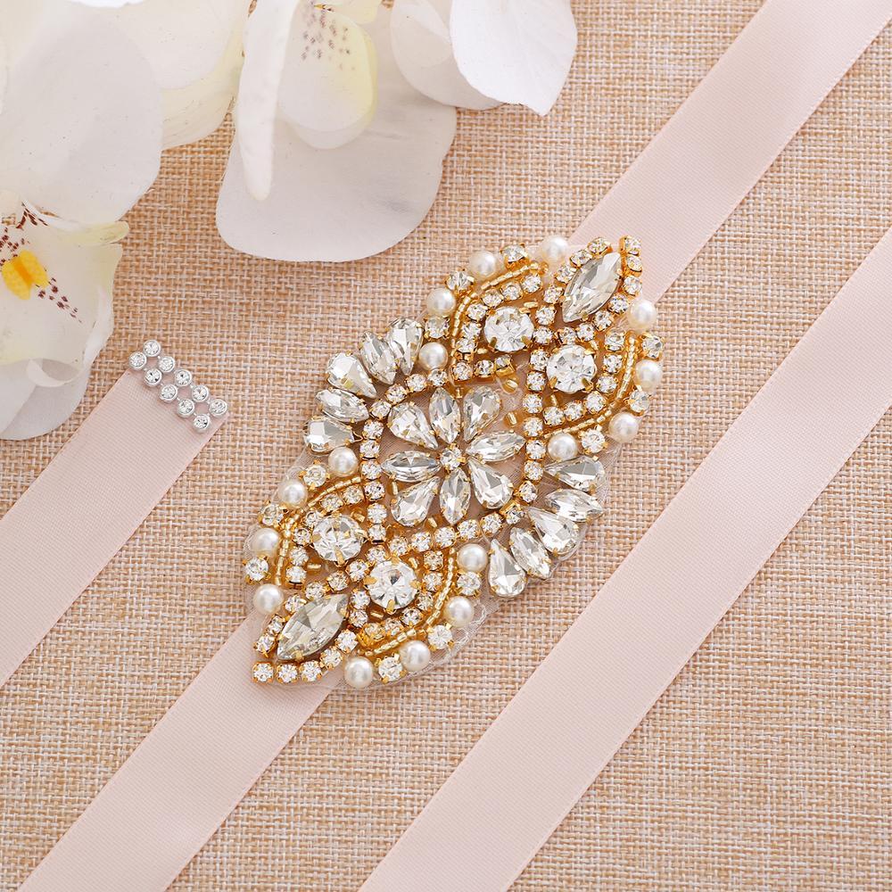 Gold Crystal Wedding Belt Handmade Pearls Bridal Sash Rhinestones Bridal Belt  For Bridal Dresses A171G