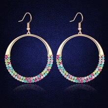 Original de la moda Círculo Pendientes Pavimentada Cristal De Swarovski Nuevo Diseño Cuelga Los Pendientes de La Joyería Para Las Mujeres Regalo Caliente