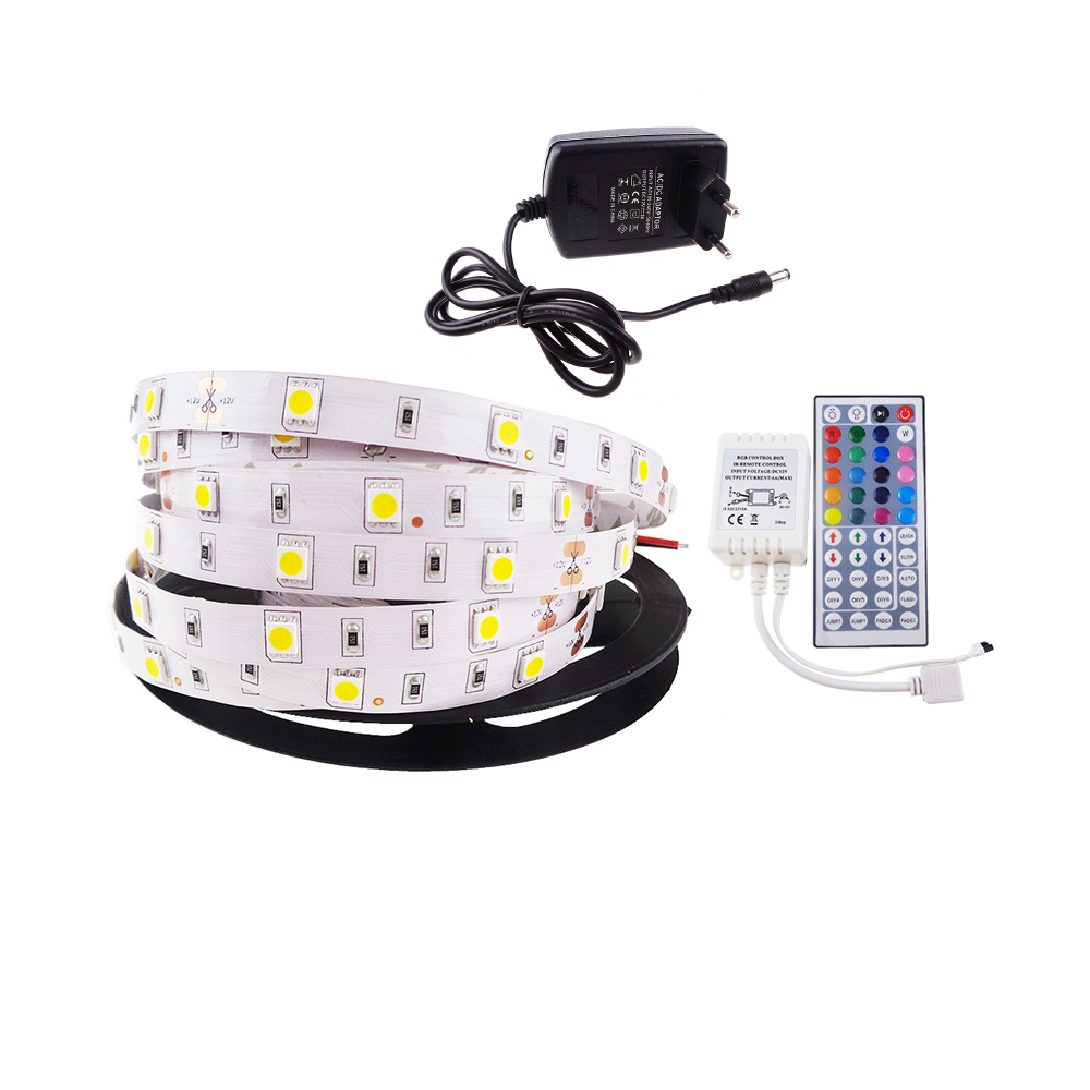 Led strip light 5050 SMD 30led/M 5M DC socket or 44key RGB controller with remote + 2A power supply DC12V flexible rope JM 5pcs dc power female barrel to male barrel connector cable for cctv or led light controller 5 meter 5 5 x 2 1mm