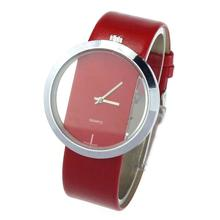 PU Leather Transparent Dial Hollow Analog Quartz Wrist Watch
