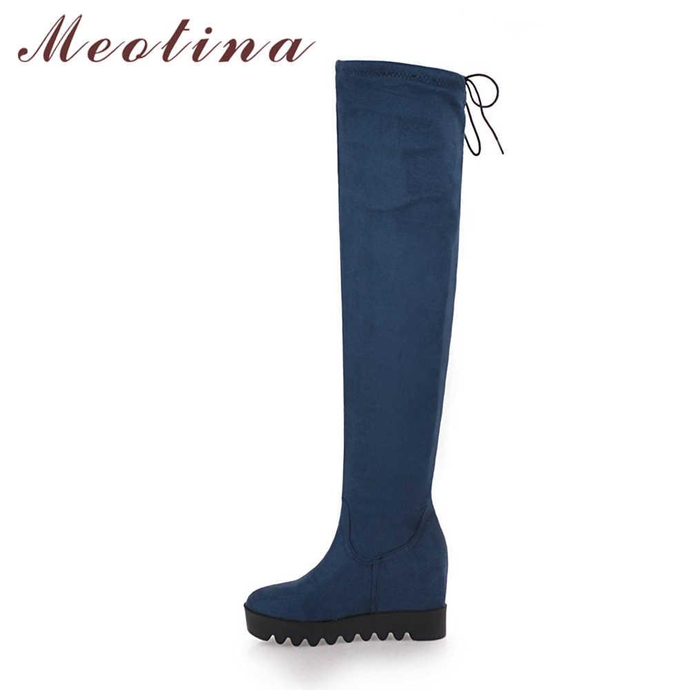 Meotina Diz Çizmeler üzerinde Kış Uyluk Yüksek Çizmeler Kadın Platformu Kama Topuk Faux Süet Ince Çizmeler Çizmeler Seksi Ayakkabı siyah