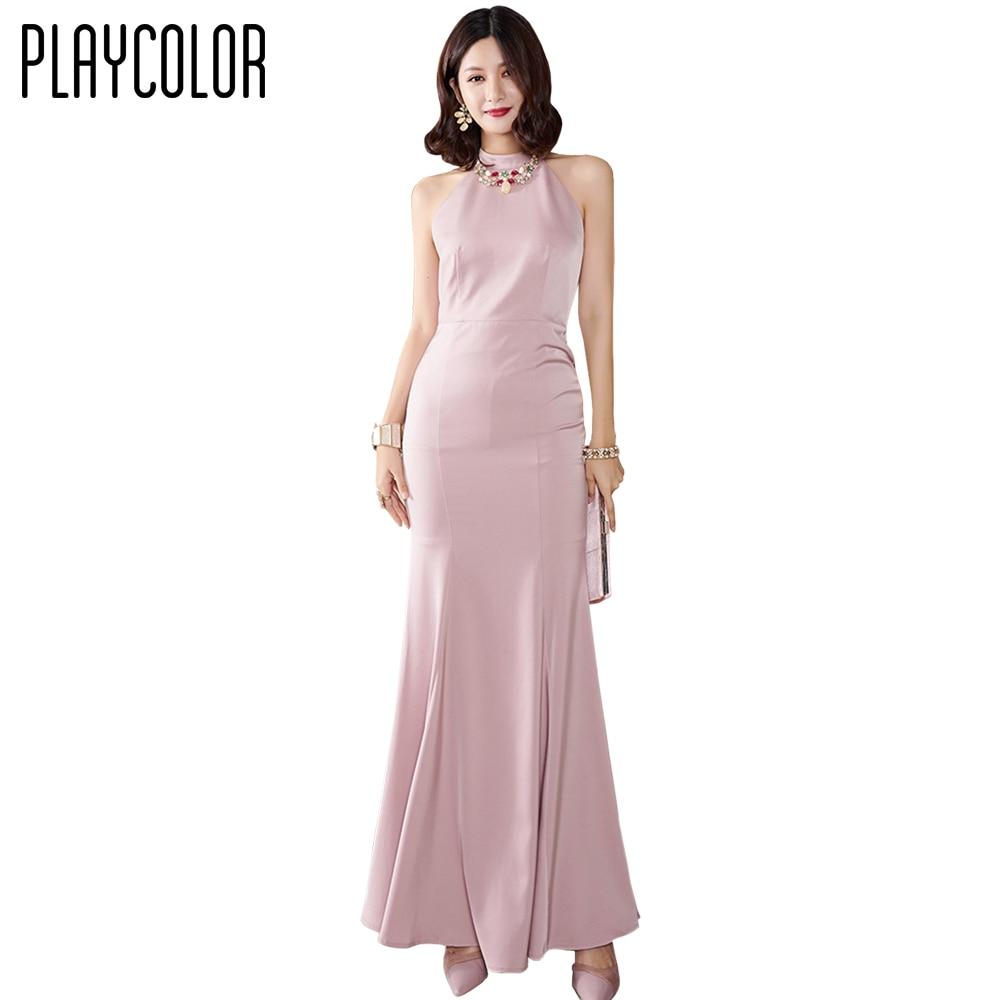 PLAYCOLOR Rosa Elegante Abendkleid Lange 9 Trompete