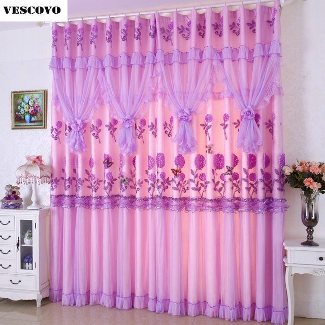 Beautiful lace curtains wedding room Pink and Purple sheer curtains voile  UF02