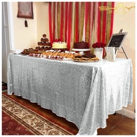 ShinyBeauty 240cmx455cm Square Silver Sequin Tablecloth,Sparkling Sequin Table,Tablecloth Perfert For Birthday Y1956