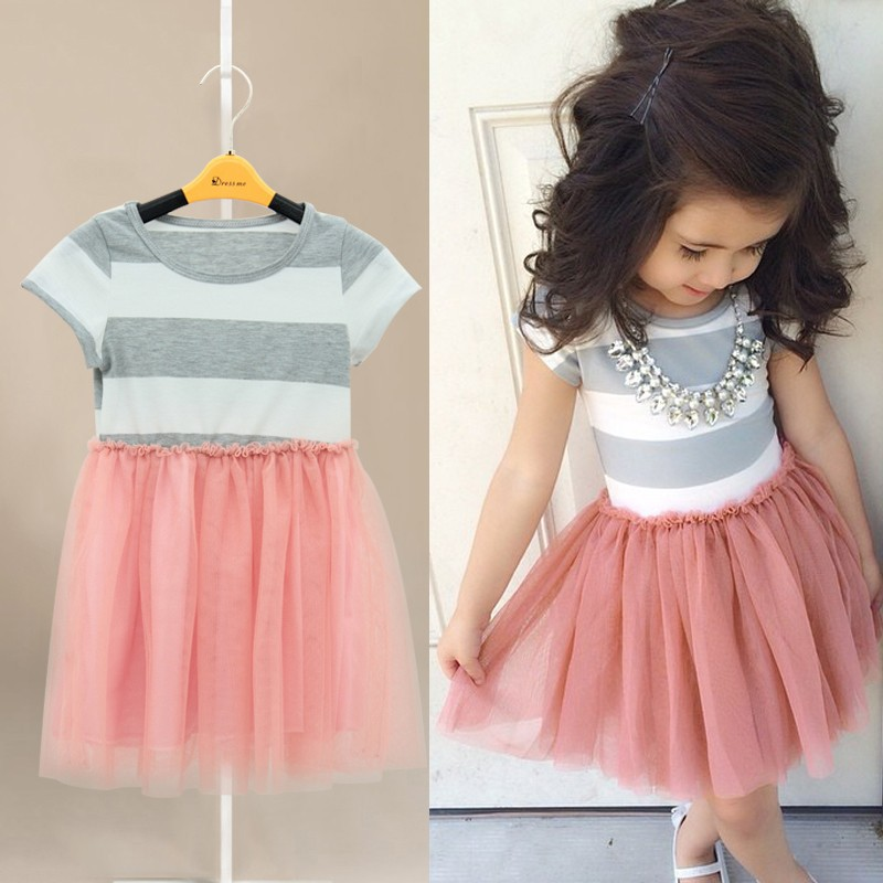 2018 new children clothing Toddler Girls Short Sleeve Tops Mini Dress Striped Princess Pleated Dress 3