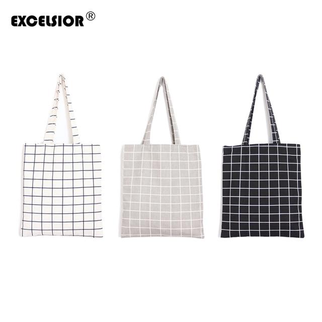 Excelsior известный мешок бренд женщин топ-ручка сумки 2017 мода простой плед пляжная сумка холст tote сумки мешок основной