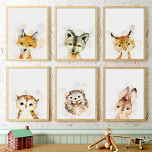 Fox Wolf Owl Hedgehog Rabbit Nordic Posters And Prints Wall Art Canvas Painting Nursery Pictures Baby Girl Kids Room Decor
