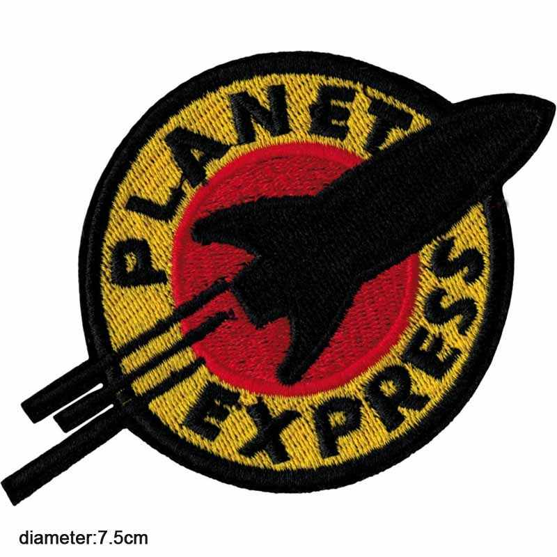 Planet Express Space Theme UFO Iron On Embroidered Clothes Patches For Clothing Stickers Garment Apparel Accessories