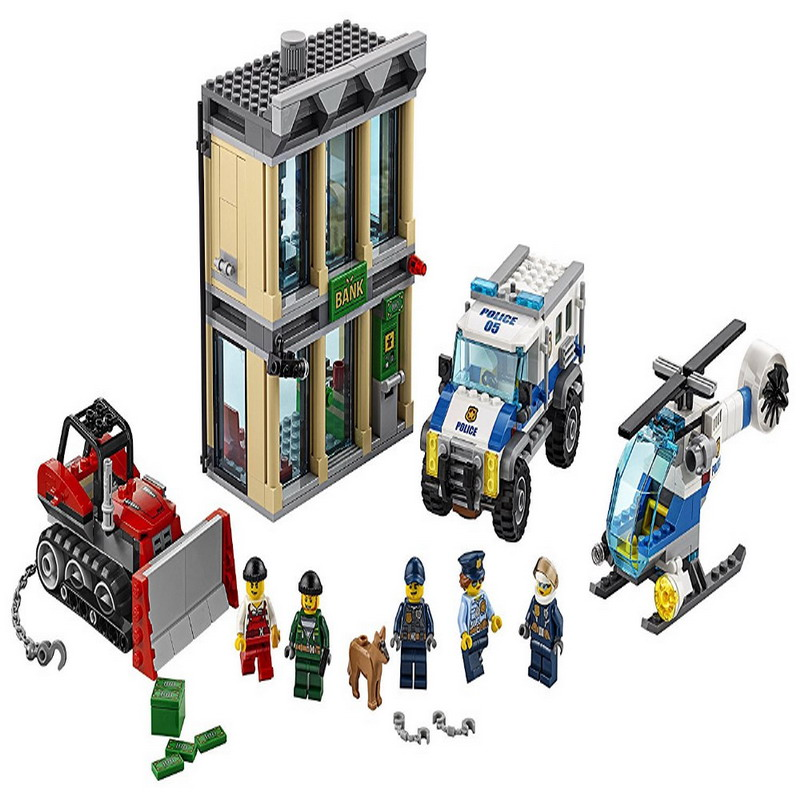 02019 LEPIN City Police Bulldozer Break In Model Building Blocks Classic Enlighten Figure Toys For Children Compatible Legoe 1700 sluban city police speed ship patrol boat model building blocks enlighten action figure toys for children compatible legoe
