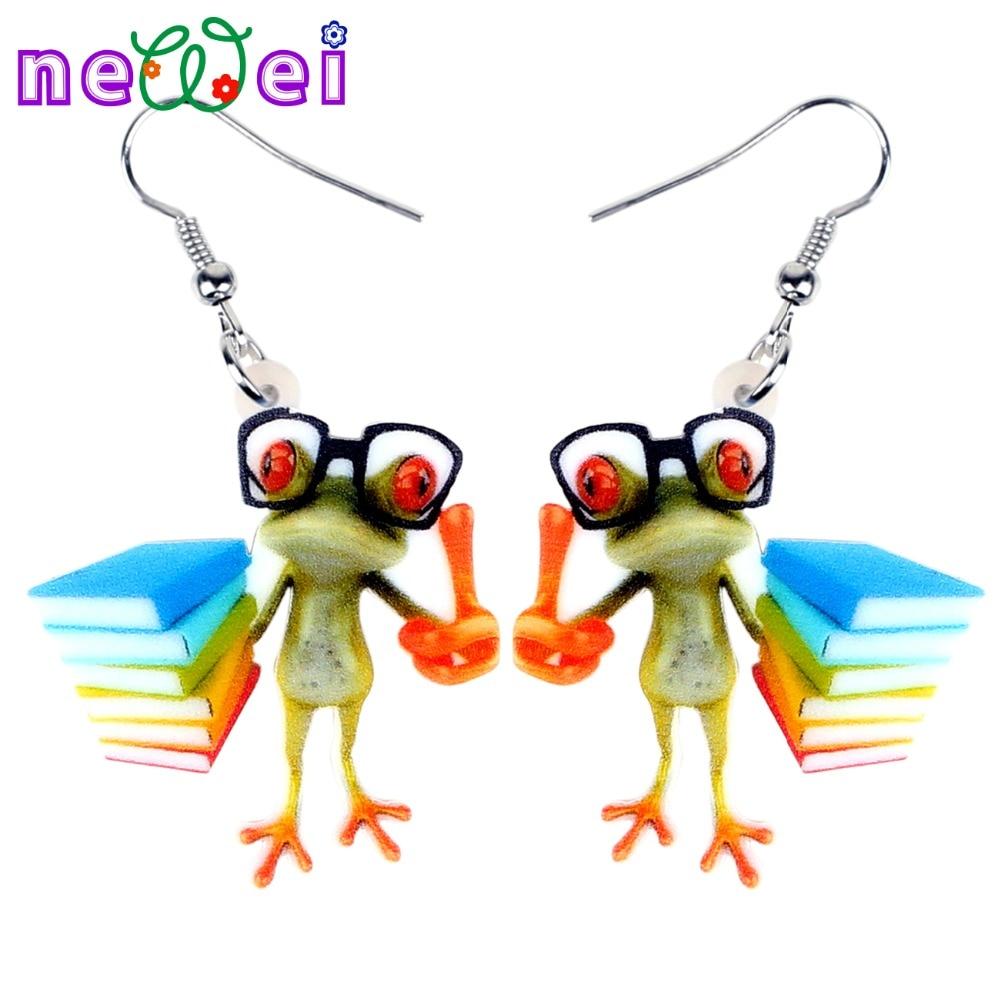 NEWEI Acrylic Cartoon Teacher Frog Earrings Drop Dangle Fashion Cute Animal Jewelry For Women Girls Teems Gift Wholesale Charms