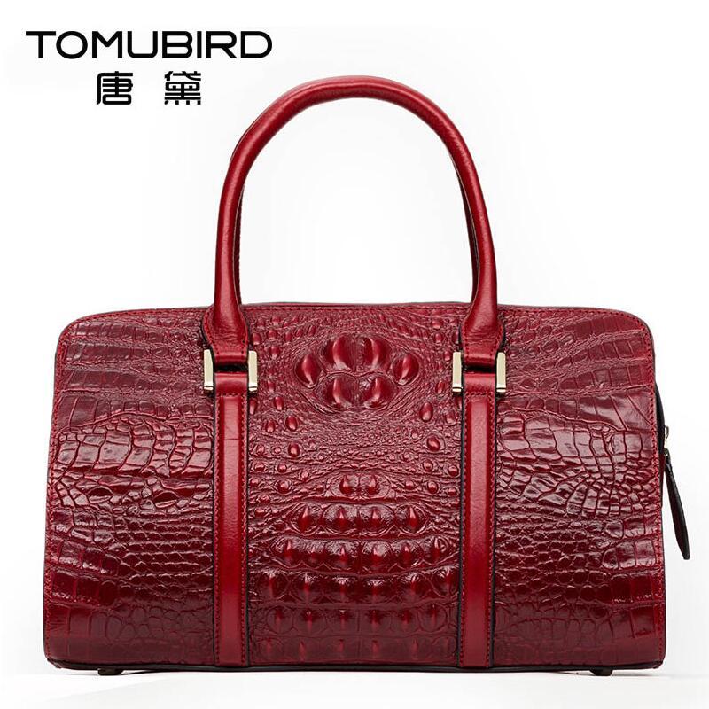 2016 New genuine leather women bag  alligator grain embossing fashion women leather handbags shoulder bag  boston bag