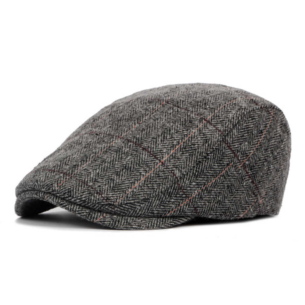 a88ea92bae6 England Style Mens Berets Wool Blend Ivy Cap Tweed Herringbone Newsboy  Gatsby Flat Winter Warm Hat