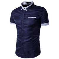Bleuziel 2017 Summer Men S Solid Turn Down Collar Shirt Brand Male Slim Fit Business Casual