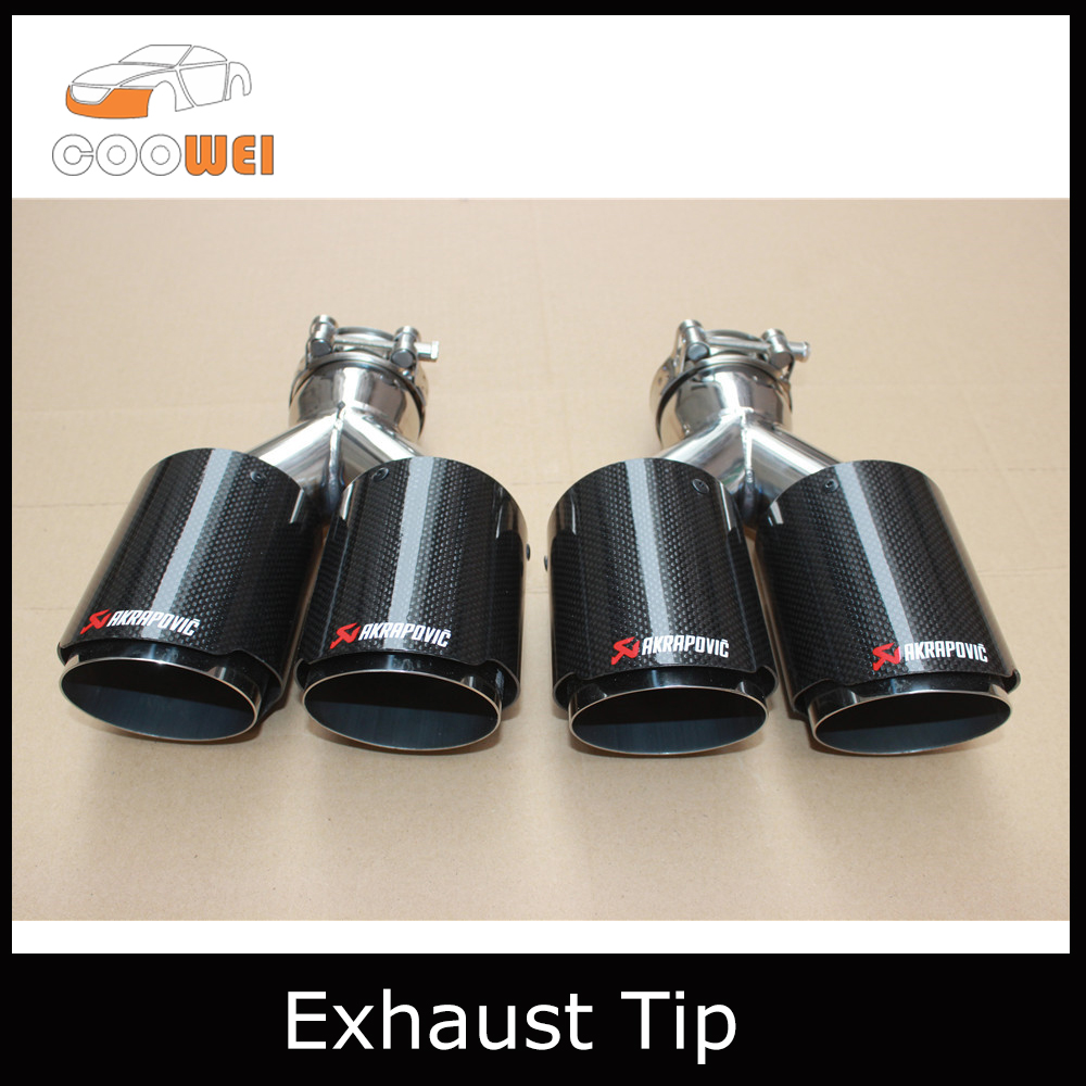 1Pair Staggered style Universal DUAL AKRAPOVIC Exhaust Tip Glossy carbon fiber exhaust pipe tail quad AK