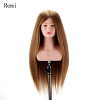 100% real Human Hair Mannequin Head doll 22 Blonde Great Quality Natural Hair Hairdressing Dolls Head For Beauty Salon