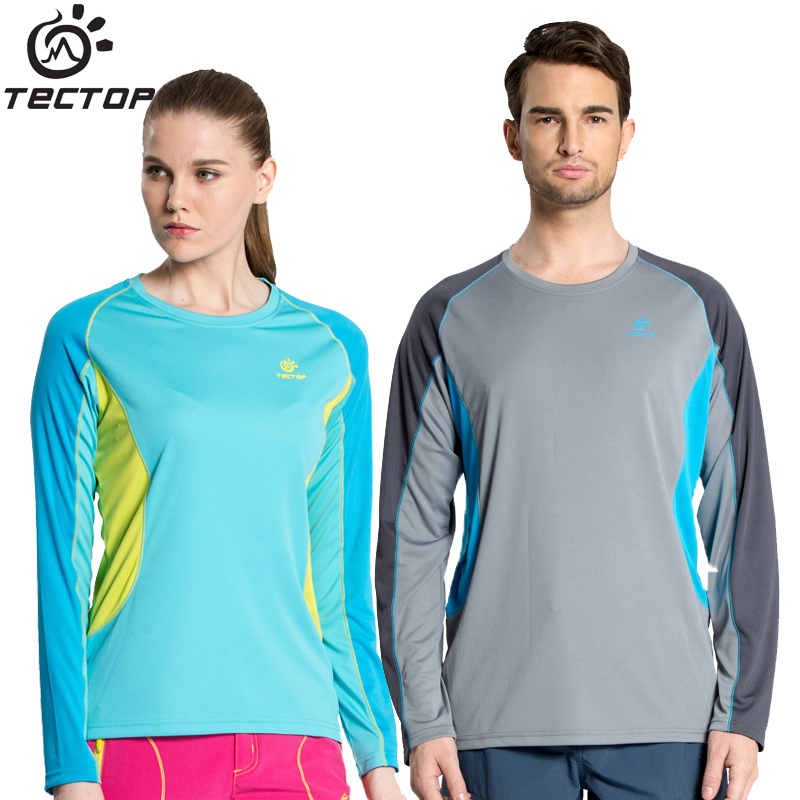 Tectop male men quick-drying Women long-sleeve t-shirt spring summer running outdoor sports Breathable quick dry lovers clothes