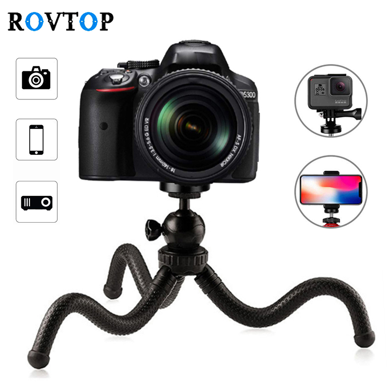 Rovtop Flexible Portable Travel Octopus Tripods Bracket Monopod Mini Tripod For IPhone DSLR Camera Gopro With Phone Clip