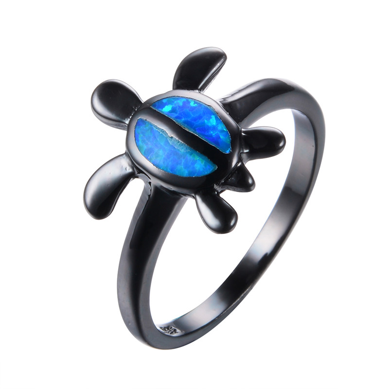 Humorous Simple Fashion Blue Fire Opal Animal Rings For Women/men Party Gift Vintage Black Gold Filled Wedding Ring Jewelry Bijoux Rb0824 Latest Technology Rings