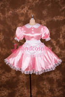 Sexy Lockable Pink Satin Lace Sissy Maid Short Dress Cosplay Costume Uniform[S013]