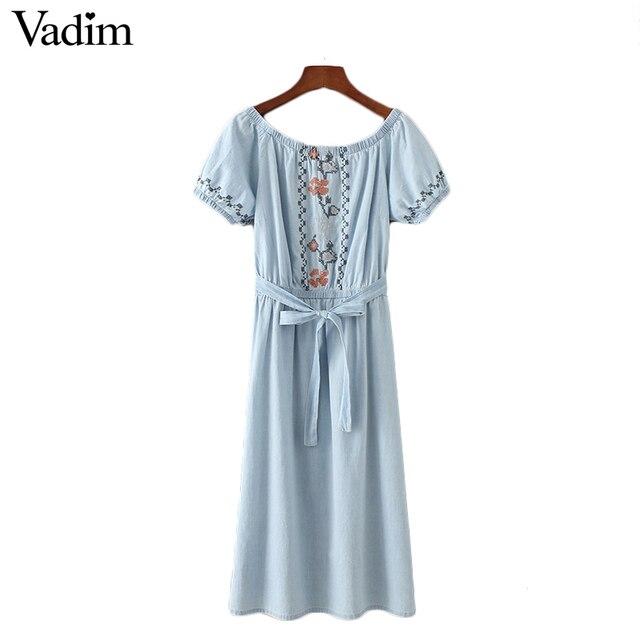 Vadim женщины сексуальная слэш шеи вышивка denim dress пояса с коротким рукавом подол сплит лето повседневные платья midi vestidos qz3024