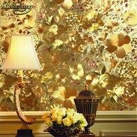 Beibehang 꽃 골드 호일 벽지 골드 양각 기능 배경 거실 papel 드에서 parede 3d 벽화 벽 종이
