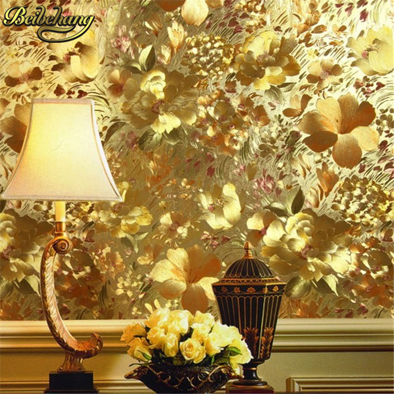 beibehang Floral gold foil wallpaper gold embossed feature background for living room papel de parede 3d mural wall paper roll beibehang decoration velvet floral wallpaper roll flocking flower wall paper mural wallpaper for living room papel de parede 3d