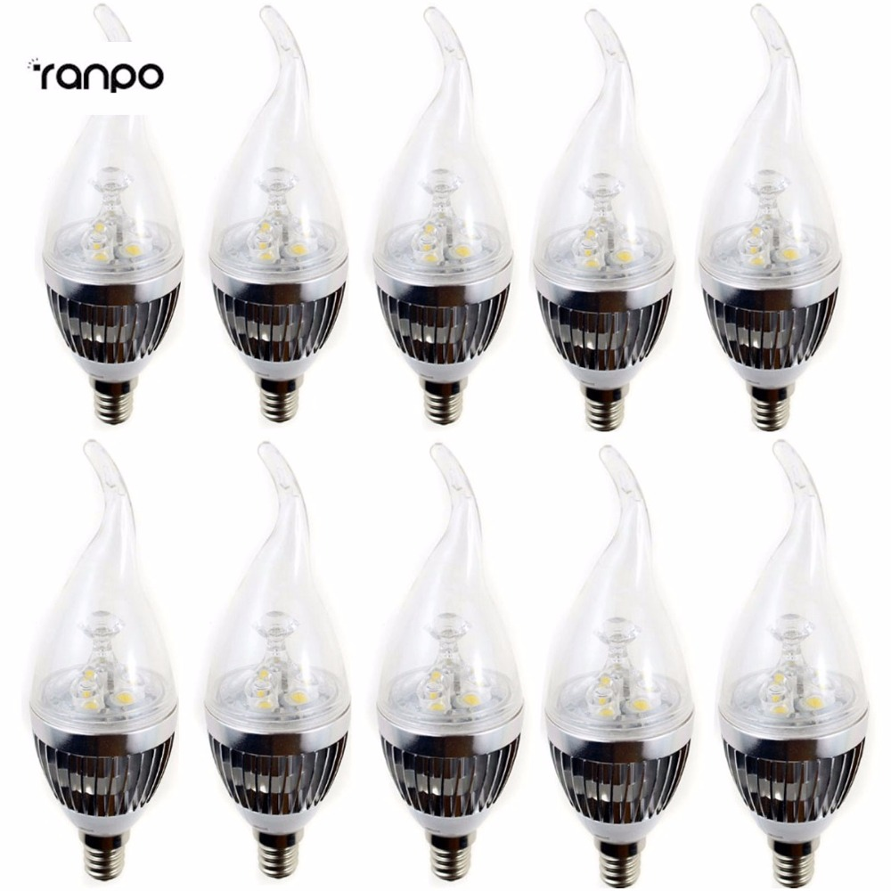 10X Silver Golden Brozen Color E12 Candelabra 110V Dimmable 3/6/9 W LED Flame Candle Chandelier Lights Bulb