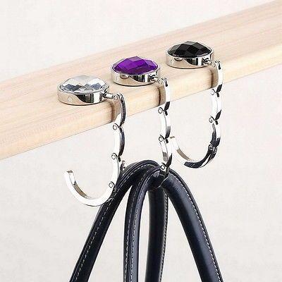 New Bag Hook Portable Foldable Folding Table Purse Hanger Holder Handbag Crystal Rhinestone Decoration