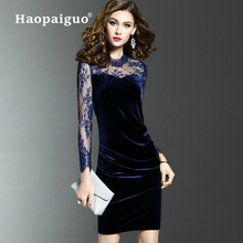 S-XXXL Plus Size Thick Warm Black Velvet Dress Winter Women Long Sleeve Wrap Dress Autumn Lace Patchwork Bodycon Women Dress stylish cami lace women s bodycon dress