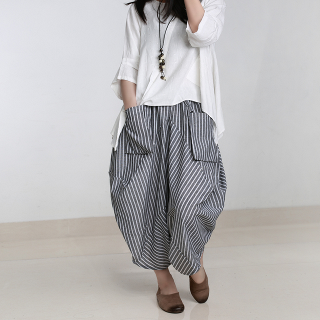 f4dece6e2387f Spring and Summer Women Pants Harem Pants Wide Leg Pants Large Pocket  Casual Stripe Culottes Plus Size Pants