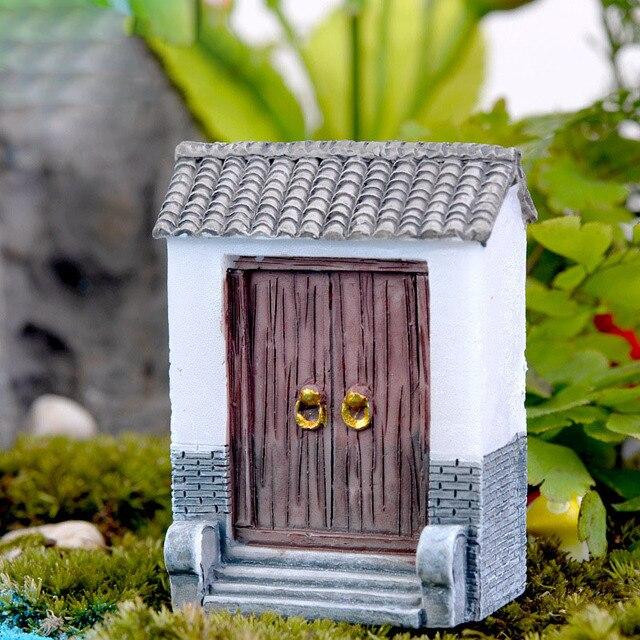Mini Kawaii House Door Resin Cabochon Diy Craft Miniature Fairy Garden Supplies Micro Landscape Bonsai Terrarium