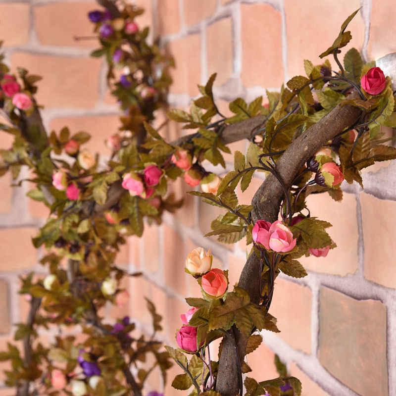 220 cm Gefälschte Seide Rosen Efeu-rebe Künstliche Blumen Mit Grünen Blättern Für Haupthochzeits-dekoration Hänge Garland Decor